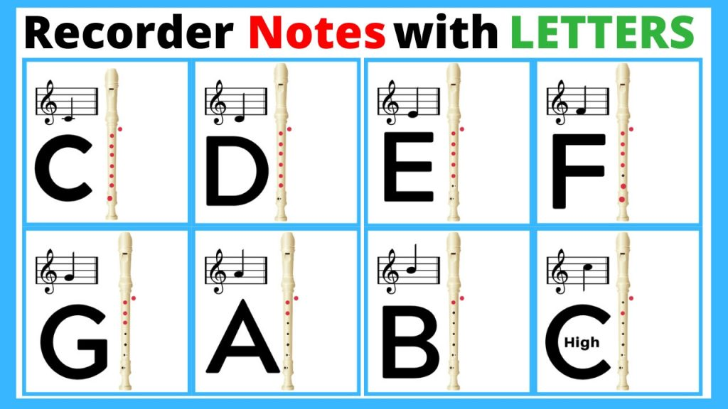 recorder music notes with letters