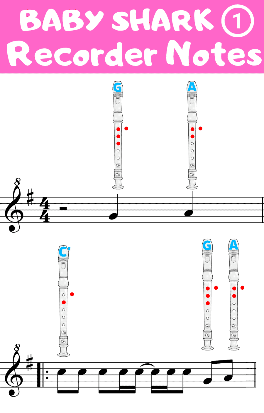 baby shark on recorder notes